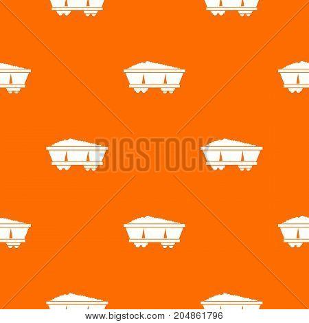 Coal trolley pattern repeat seamless in orange color for any design. Vector geometric illustration