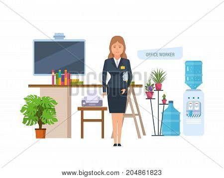 Office worker and equipments. Woman in office workplace. Girl in strict office clothes with documents in hands, in office on background of interior of room. Vector illustration isolated.