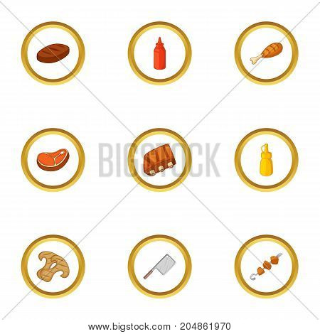 BBQ equipment icons set. Cartoon style set of 9 BBQ equipment vector icons for web design