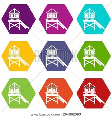 Wooden stilt house icon set many color hexahedron isolated on white vector illustration