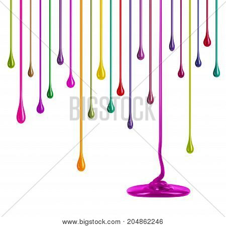 Streaks of multi-colored paint in the form of drops on white background
