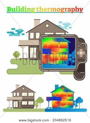 Illustrated house showing thermography scanning process in buildings