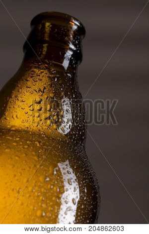 Close up of a wet well-chilled beer bottle. Selective focus