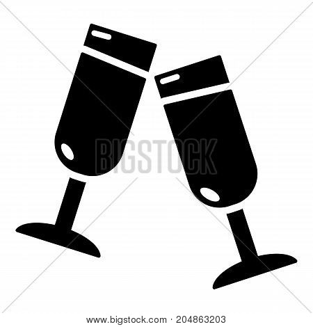 Glasses champagne icon . Simple illustration of glasses champagne vector icon for web design isolated on white background