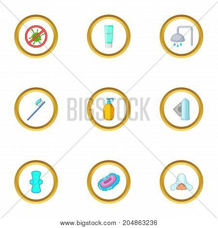 Morning cleaning icons set. Cartoon style set of 9 morning cleaning vector icons for web design