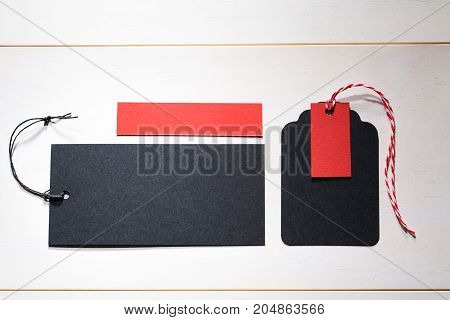 Black label tag on a white background