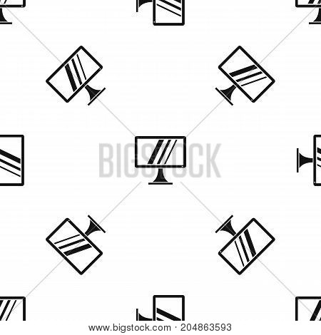 Computer monitor pattern repeat seamless in black color for any design. Vector geometric illustration