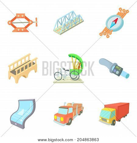 Freight transport icons set. Cartoon set of 9 freight transport vector icons for web isolated on white background