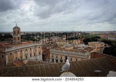 Rome panorama from Vittorio Emanuele II Monument, Italy