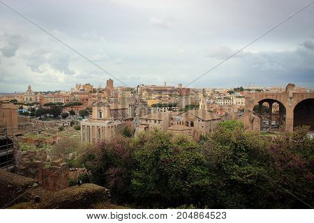 Roman Forum ancient archaeological site, Rome, Italy