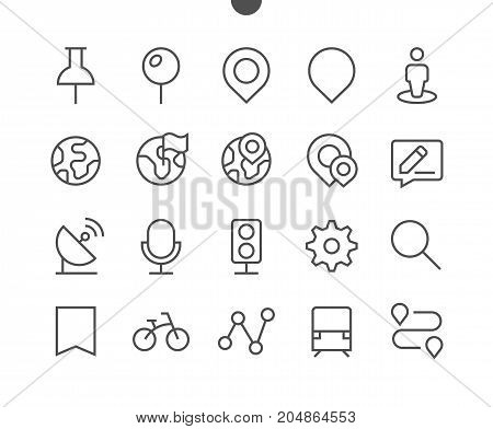 Location Pixel Perfect Well-crafted Vector Thin Line Icons 48x48 Ready for 24x24 Grid for Web Graphics and Apps with Editable Stroke. Simple Minimal Pictogram Part 1
