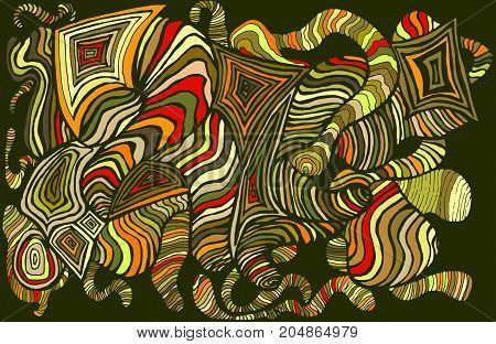 Bright colorful abstract pattern many lines waves sketch style on a black background. Psychedelic stylish card. Vector hand drawn illustration