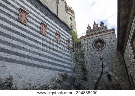 GRIZZANA MORANDI ITALY - SEPTEMBER 15 2017: View of Rocchetta Mattei castle. It was the house of Conte Cesare Mattei and it was built in the XIX century.