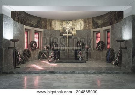 Marzabotto Italy - 15th September 2017: sacrarium of Second World War victims borned in this town