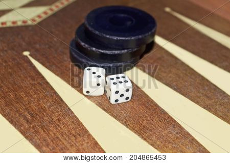 greek tavli or backgammon - board game with dice and checkers