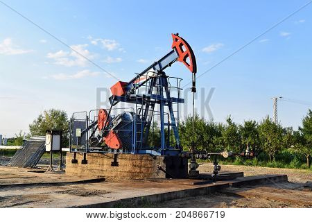 Grasshopper crude oil pump in action, eastern Europe