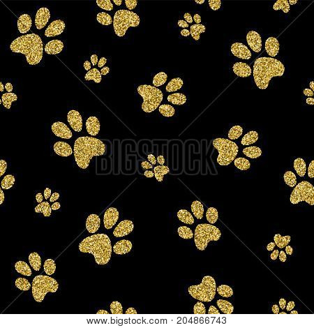 Gold Dog Paw Seamless Pattern Golden Glitter Art