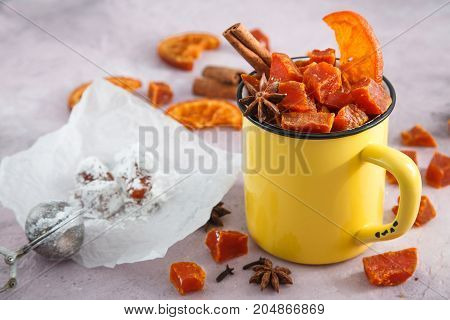 Fruits candy - halloween sweets in yellow cup.