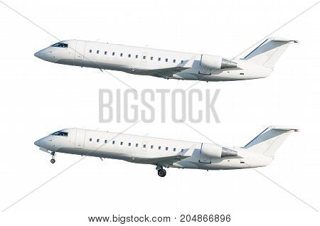 Set Of Two Aircraft, With The Chassis Landing Gear Released And Retracted. Isolated