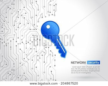 Abstract high tech circuit board with technology key. Security concept background. Cyber data security information privacy. Global internet network protection.