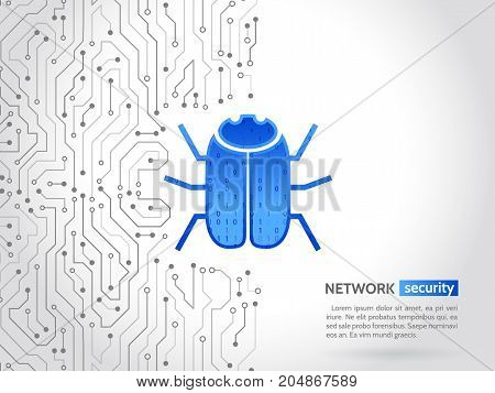 Abstract high tech circuit board with hacker bug. Hacking and cyber crime. Personal data security concept. Network security technology. Computer virus attack