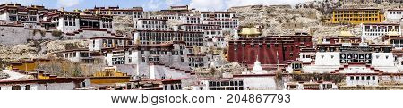 Panoramic view of Ganden Buddhist Monastery near Lhasa - Tibet