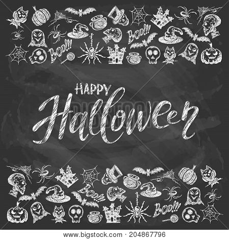 Halloween background with set of sketches icons. Holiday theme with lettering Happy Halloween written in white chalk on a black chalkboard illustration.