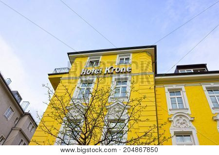 Munich, Germany - May 03, 2017: The facade of Krone Hotel building at Munich, Germany on May 03, 2017