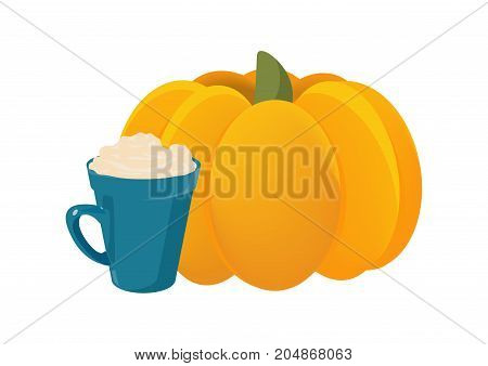 Vector illustration in a cartoon style for Pumpkin Spice Latte also called PSL promotion. Big Pumpkin and a mug of Latte coffee with foam or whipped cream isolated.