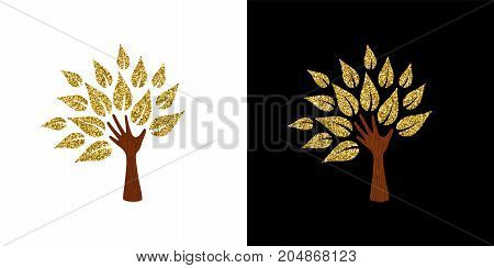 Gold glitter tree concept design abstract illustration art for environment care or nature help project. EPS10 vector.