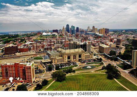 Kansans City Skyline in Kansas City Missouri