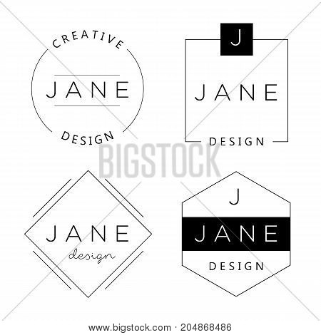 Set of personal logo templates. Basic elements for branding, business concept.