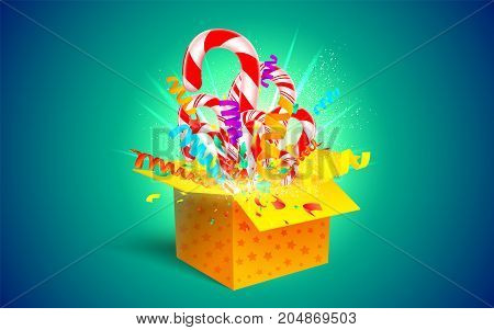 Christmas Sweet Gift. Open 3D Yellow Box With Candy Cane And Paper Confetti Explosion. Festive Surpr