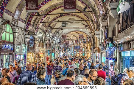 ISTANBUL, TURKEY: People shopping in the Grand Bazar, one of the largest covered markets in the world, on October 7, 2014
