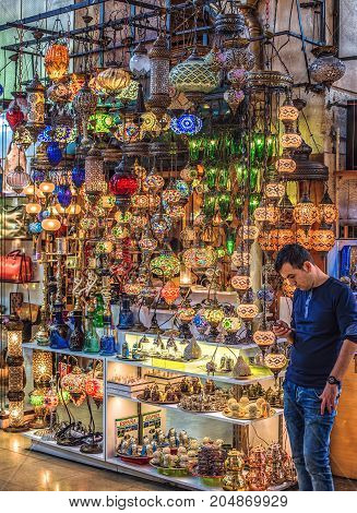 ISTANBUL, TURKEY: Mosaic Ottoman lamps in Grand Bazaar in Istanbul on October 7, 2014
