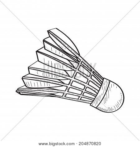 Isolated retro badminton shuttlecock on a white background, Vector illustration