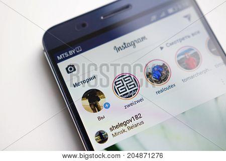 Minsk Belarus - September 17 2017: Instagram application menu on smartphone screen close-up. Using Instagram app