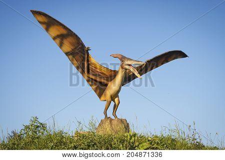 Minsk Belarus - September 17 2017: Realistic models of Pterodactyl dinosaurus in Dino Park