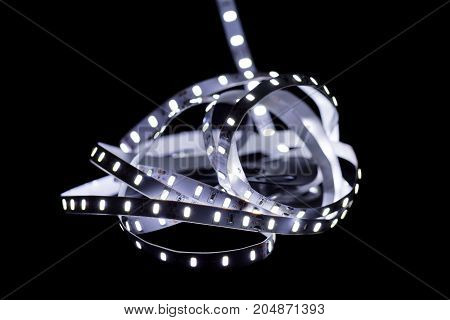 close up of Led stripe light on black background