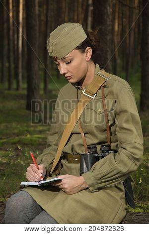 Soviet Female Soldier In Uniform Of World War Ii