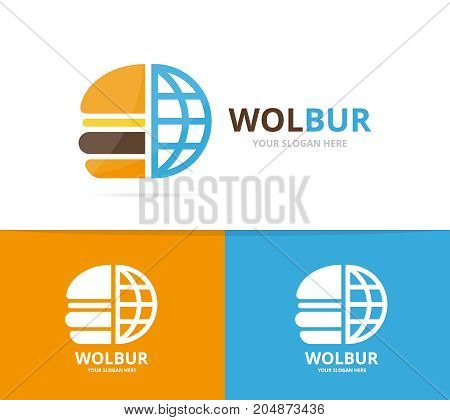 Vector burger and planet logo combination. Hamburger and world symbol or icon. Unique fastfood and globe logotype design template.