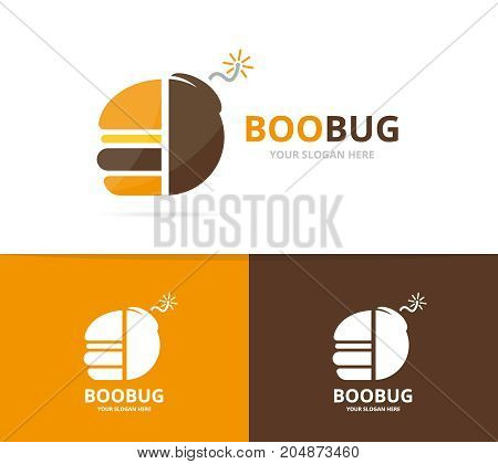 Vector burger and bomb logo combination. Hamburger and detonate symbol or icon. Unique fastfood and weapon logotype design template.