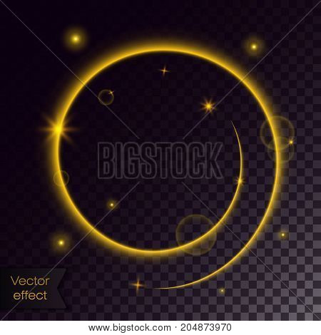 Glowing gold spiral. Swirl with stars. Glitter shimmer trail. Vector transparent effect.