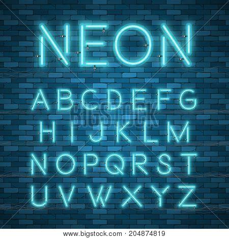 Realistic neon alphabet. Glowing font. Vector format