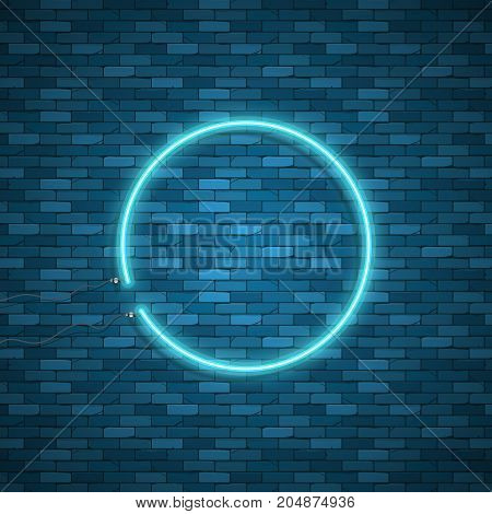 Bulb glowing. Neon ring lamp sign isolated on transparent background. Blue electric light circle. Vector round bulb banner for advertising design