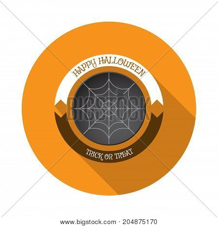 Vector isolated icon of net with spider on the dark gray round form cut from paper with white and brown stripes and shadow.