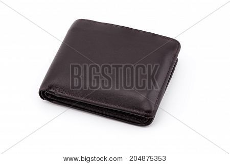 Old Brown wallet isolated on white background - clipping part.
