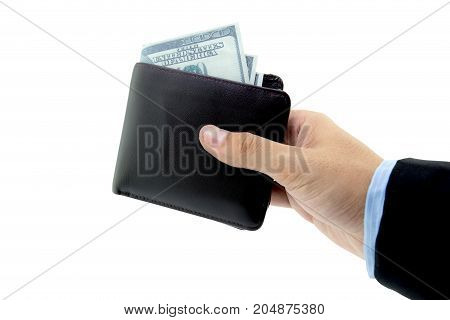 Male hand holding wallet isolated over white background with clipping path.