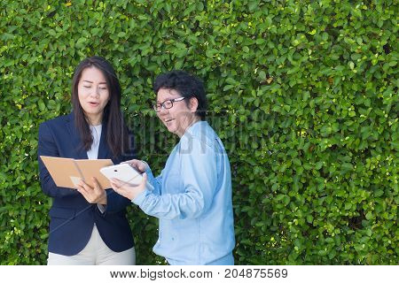 Business Two People Looking Information On Tablet Corporate Digital Device Connection Network Concep