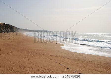 View of Praia do Meco beach in Portugal.